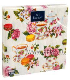 Салфетки бум. DESNA BOUQUET 33х33, 3-сл.,с рис. (20 листов) Чайная роза [12/12]