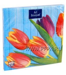 Салфетки бум. DESNA BOUQUET 33х33, 3-сл.,с рис. (20 листов) Тюльпаны на синем [12/12]