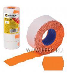 Этикет-лента 26х12 BRAUBERG цветная, волна (800 шт.) Оранжевая (123-578) [5/100]