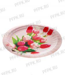 Тарелка бумажная 180мм Тюльпаны [500/500]