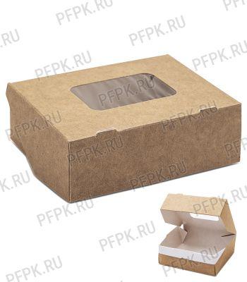 Коробка бум. V300мл 100х80мм h35мм крафт (с окном) 411-011 [100/300]