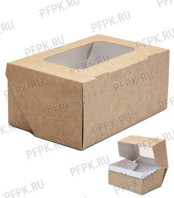 Коробка бум. V1200мл 150х100мм h70мм крафт (с окном) 411-014 [50/250]