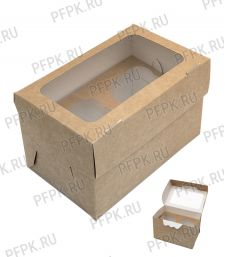 Коробка бум. для маффинов 160х100мм h100мм крафт (для 2-х штук) 411-024 [100/100]