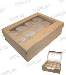 Коробка бум. для маффинов 330х250мм h100мм крафт (для 12-ти штук) 411-028 [50/50]