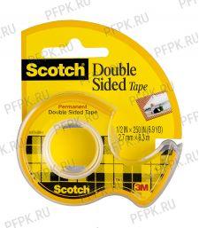 Клейкая лента двусторонняя 12мм*6,3м, Scotch, прозрачная,, мини-диспенсер (072-680/136D) [4/72]