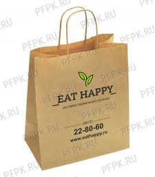 Пакет бум. с кручеными ручками 350х150х450, крафт EAT HAPPY [200/200]