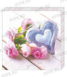 Салфетки бум. DESNA BOUQUET 33х33, 3-сл.,с рис. (12 листов) Сердце и Розы [20/20]