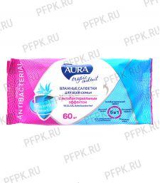 Салфетки влажн. AURA TROPIC COCKTAIL (уп. 60 шт.) С антибактериальным эффектом [1/24]