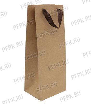 Сумочка бумажная под бутылку 14х35х11 крафт [20/240]
