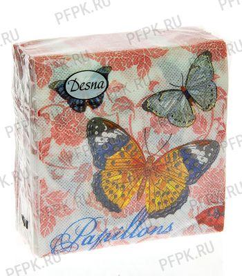 Салфетки бум. DESNA DESIGN 25х25, 1-сл.,с рис. (40 листов) Бабочки и цветы NEW [1/32]