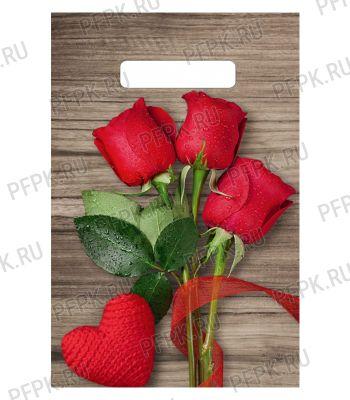 БУТИК, вырубная ручка, 20х30 (30мкм) ПВД, ТИКО Свежие розы [100/3000]